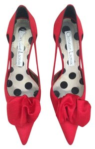 Christian Lacroix Satin Red Pointy Toe Red/Black Pumps