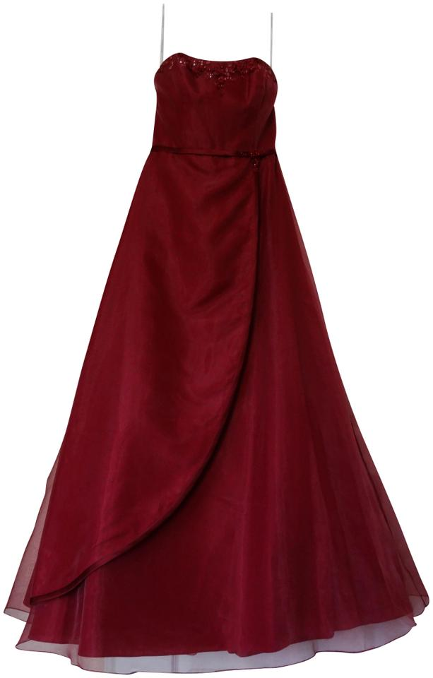 Davids Bridal Red Wine Strapless Organza Ball Gown Mother Of The