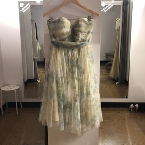 Jenny Yoo Vintage Ivory Sage Printed Tulle Maia Print Formal Bridesmaid/Mob Dress Size 12 (L)