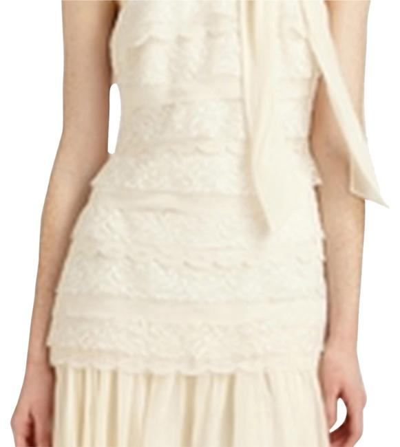 Badgley Mischka Lace Pleated Tiered Tie Dress