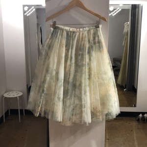 Jenny Yoo Vintage Ivory Sage Printed Tulle Lucy Skirt Formal Bridesmaid/Mob Dress Size 10 (M)