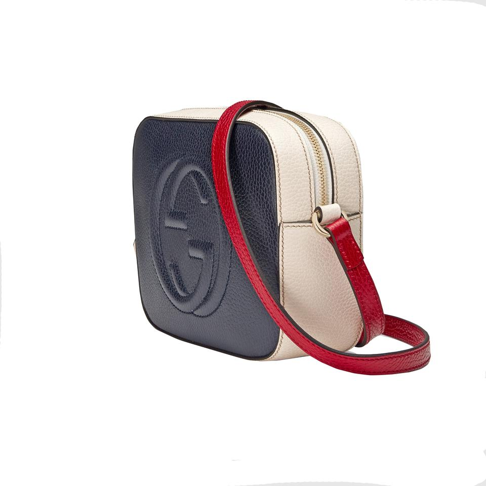 522f6a9262b9e6 Gucci Soho Women's Gg 431567 Red/White/Blue Red/White/Blue Leather Cross  Body Bag - Tradesy
