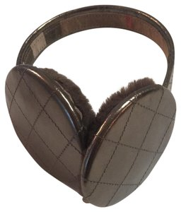 Burberry Patent leather and shearling earmuffs