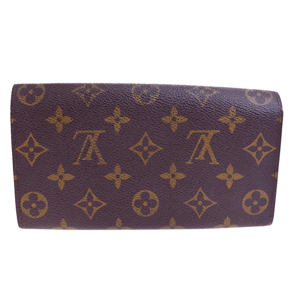 louis vuitton brown porte monnaie credit long bifold purse monogram wallet tradesy. Black Bedroom Furniture Sets. Home Design Ideas