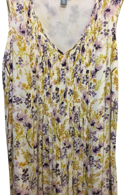 Item - Yellow Purple Tan Floral Print Mid-length Short Casual Dress Size 18 (XL, Plus 0x)