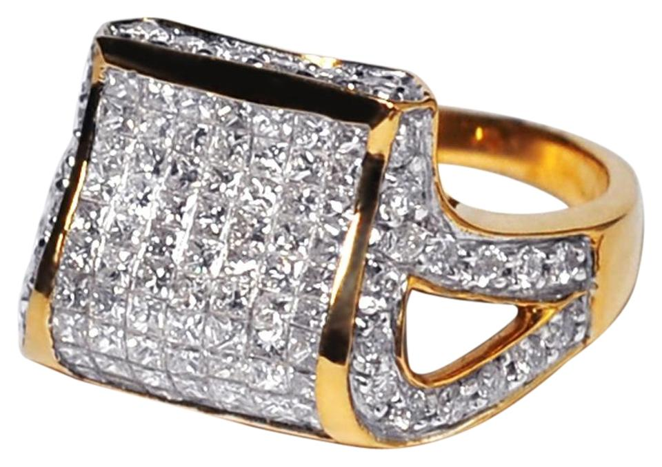 NY Collection Womens Princess Cut Genuine Diamond Dome Signet Ring 14K Gold  1.28ct ... 9b983523a