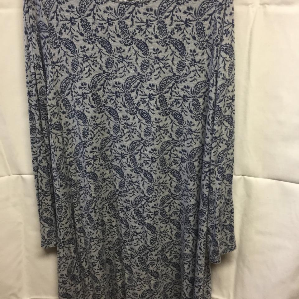 Old Navy Grey with Blue Long Sleeved Shift Mid-length Casual Maxi Dress  Size 18 (XL, Plus 0x)
