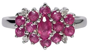 NY Collection Genuine Ruby Diamond Flower Cluster Custom Made Unique 10K Gold