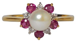 NY Collection Natural Pearl Pink Sapphire Diamond Flower Womens Ring 14K Gold