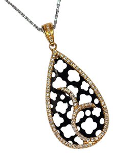 NY Collection Natural Diamond Filigree Openwork Leaf Pendant Womens 14K Yellow Gold