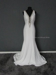 Jovani White/Silver Satin Jb25706 Sexy Wedding Dress Size 6 (S)