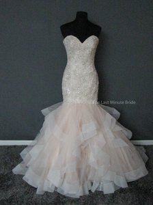 Allure Bridals Champagne/Ivory/Silver Tulle Beaded Embroidery 9421 Feminine Wedding Dress Size 8 (M)