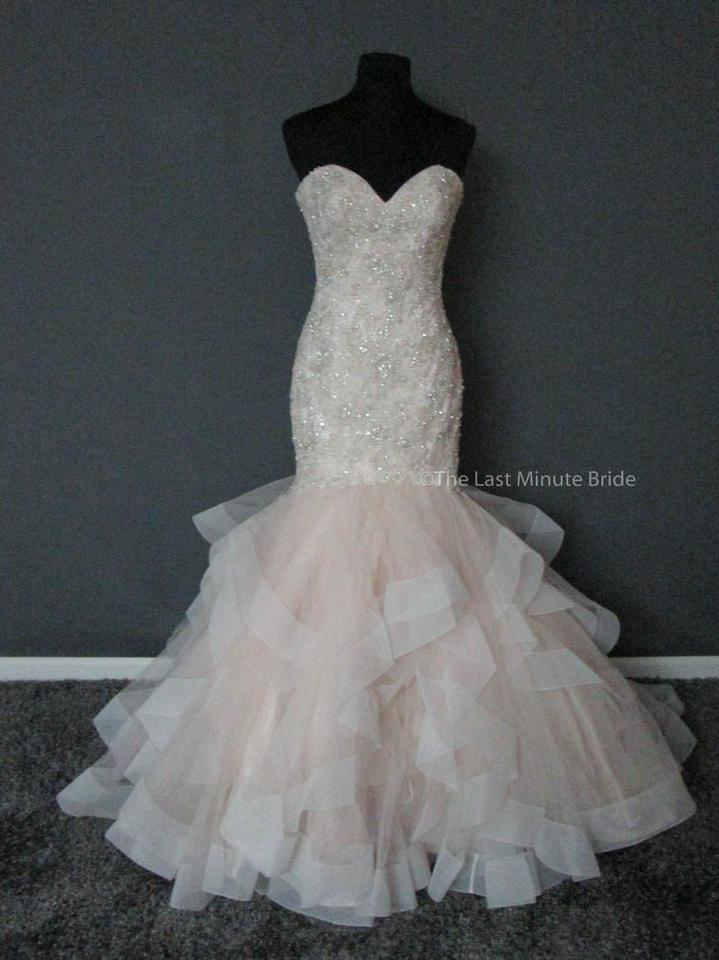 Allure Bridals Champagne Ivory Silver Tulle Beaded Embroidery 9421 Feminine Wedding Dress Size 8