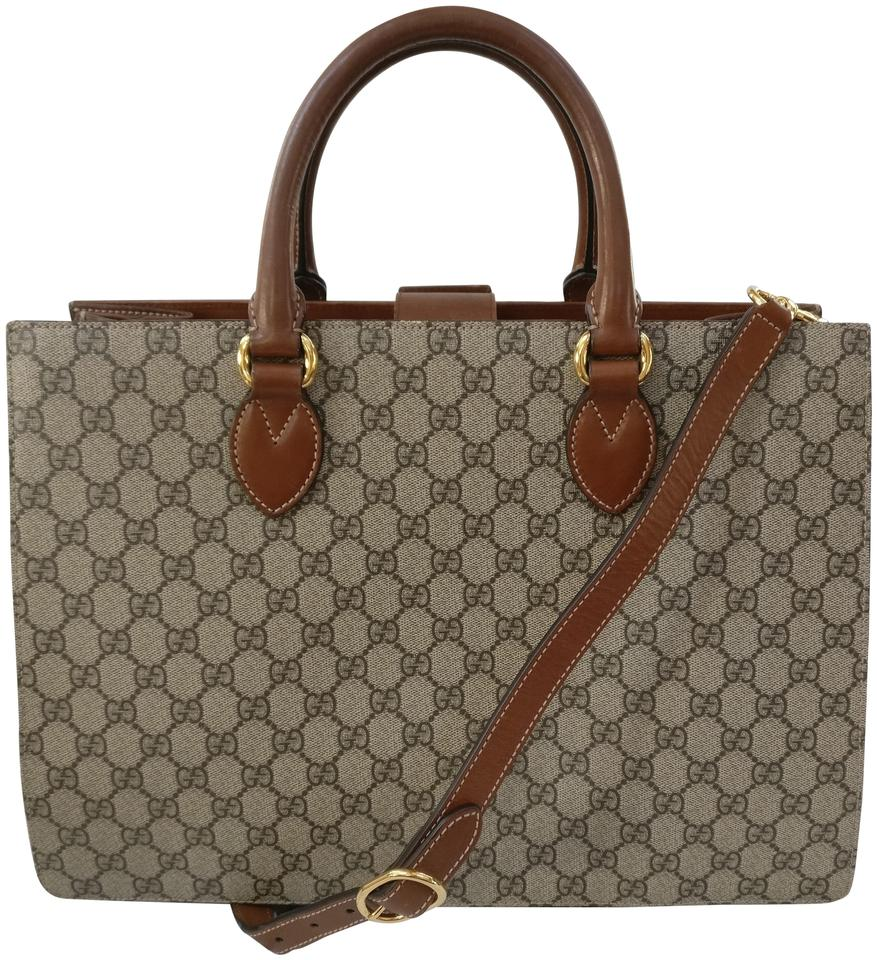 351c9b08e36893 Gucci Top Handle Bag Gg Supreme Large Satchel Coated Beige/Brow Brown Canvas  Tote