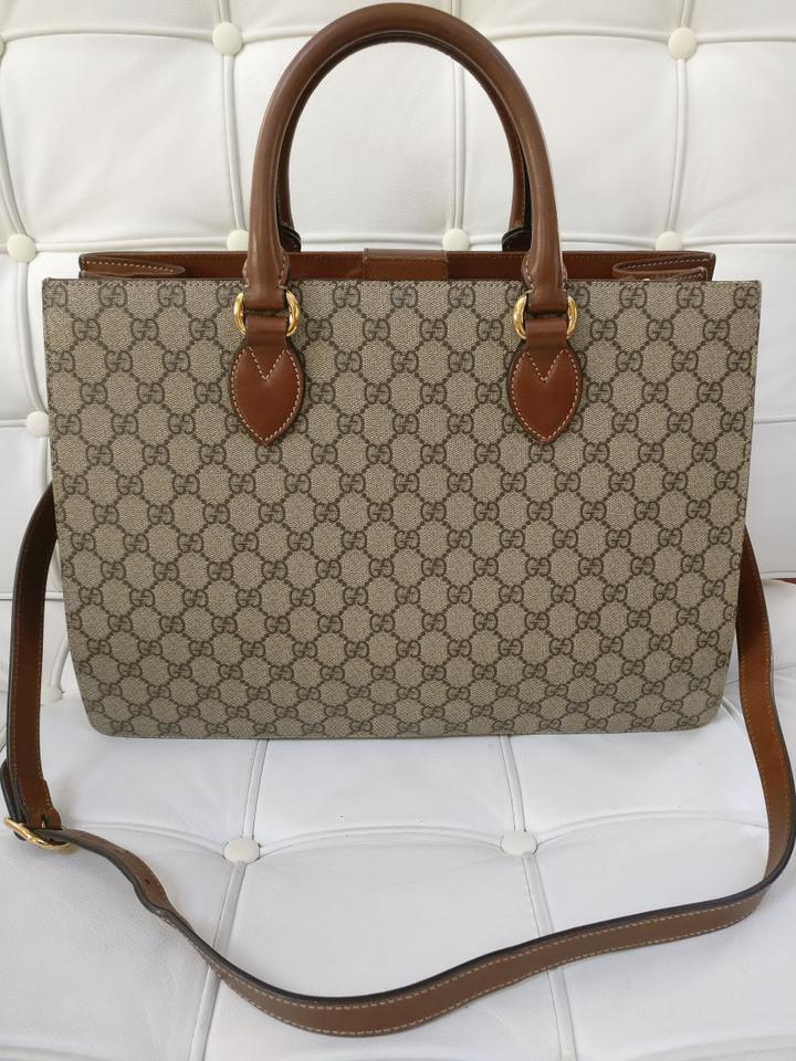 f150dde420e1dd Gucci Top Handle Bag Gg Supreme Large Satchel Coated Beige/Brow Brown Canvas  Tote - Tradesy