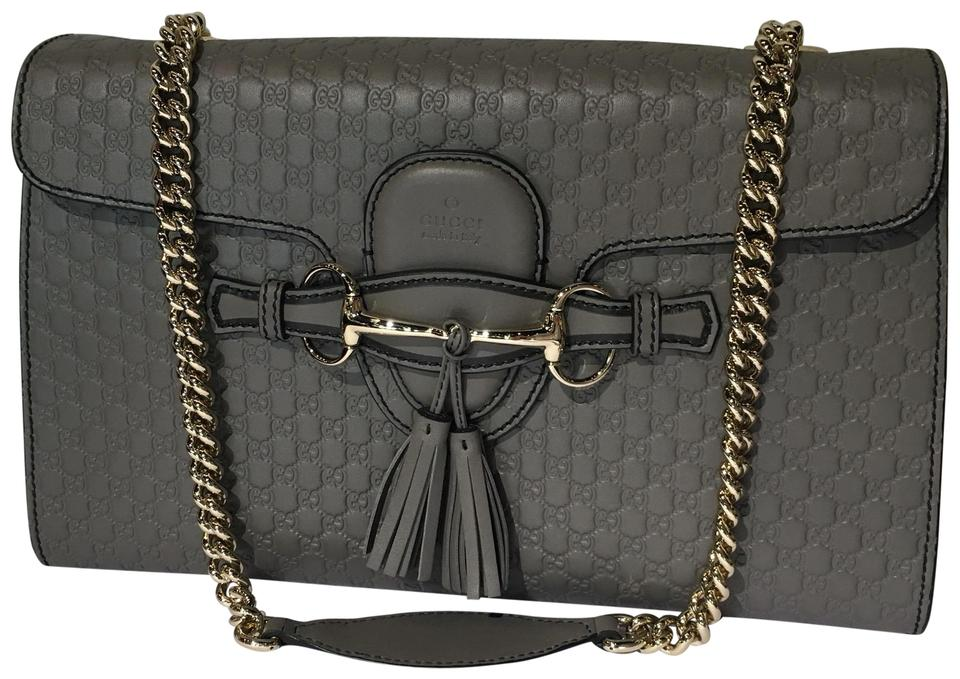 afd23962506 Gucci Emily Gg Leather Gray Shoulder Bag - Tradesy