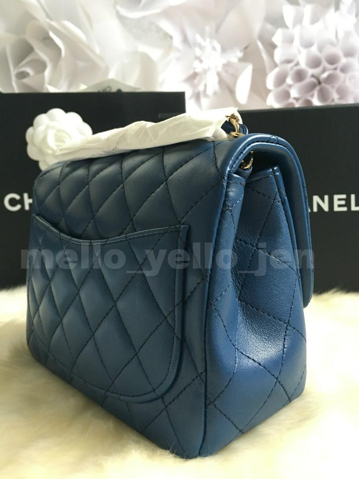1216fed0df2fd3 Chanel Classic Flap 18c Lambskin Mini Square Light Gold Hardware Navy Blue  Leather Cross Body .