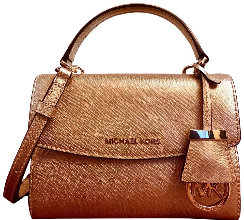 bcc438022 MICHAEL Michael Kors Ava Xs Pale Gold Saffiano Leather Cross Body Bag