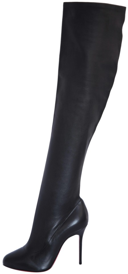 bdce0ab8f24 Christian Louboutin Black Sempre Monica Thigh High Knee 120 Heel Lady Red  Sole Leather Boots/Booties Size EU 37.5 (Approx. US 7.5) Regular (M, B)