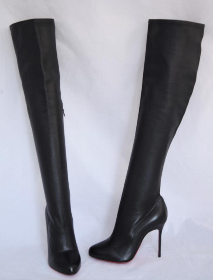 5e631f34712 Christian Louboutin Black Sempre Monica Thigh High Knee 120 Heel Lady Red  Sole Leather Boots/Booties Size EU 37.5 (Approx. US 7.5) Regular (M, B)