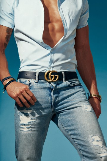Gucci Unisex Gucci Leather Belt with Double G Buckle - Size 95