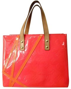 Louis Vuitton Vintage Leather Satchel in Coral Bright Red Sunset