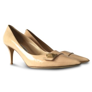 Jimmy Choo Pointed Toe Studded Patent Leather Beige Pumps