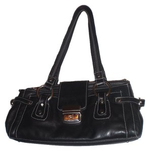 Perlina Leather Handbag Satchels Tote Black Clutch