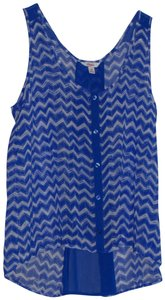 Candie's Top blue and white chevron