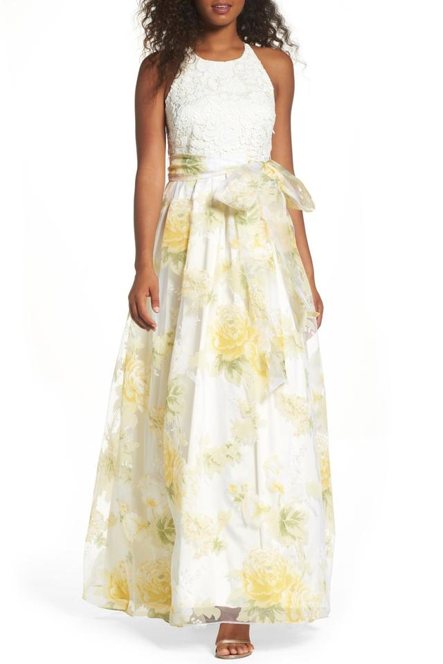 Eliza J White Yell Crochet And Organza Skirt Halter Gown Long Formal