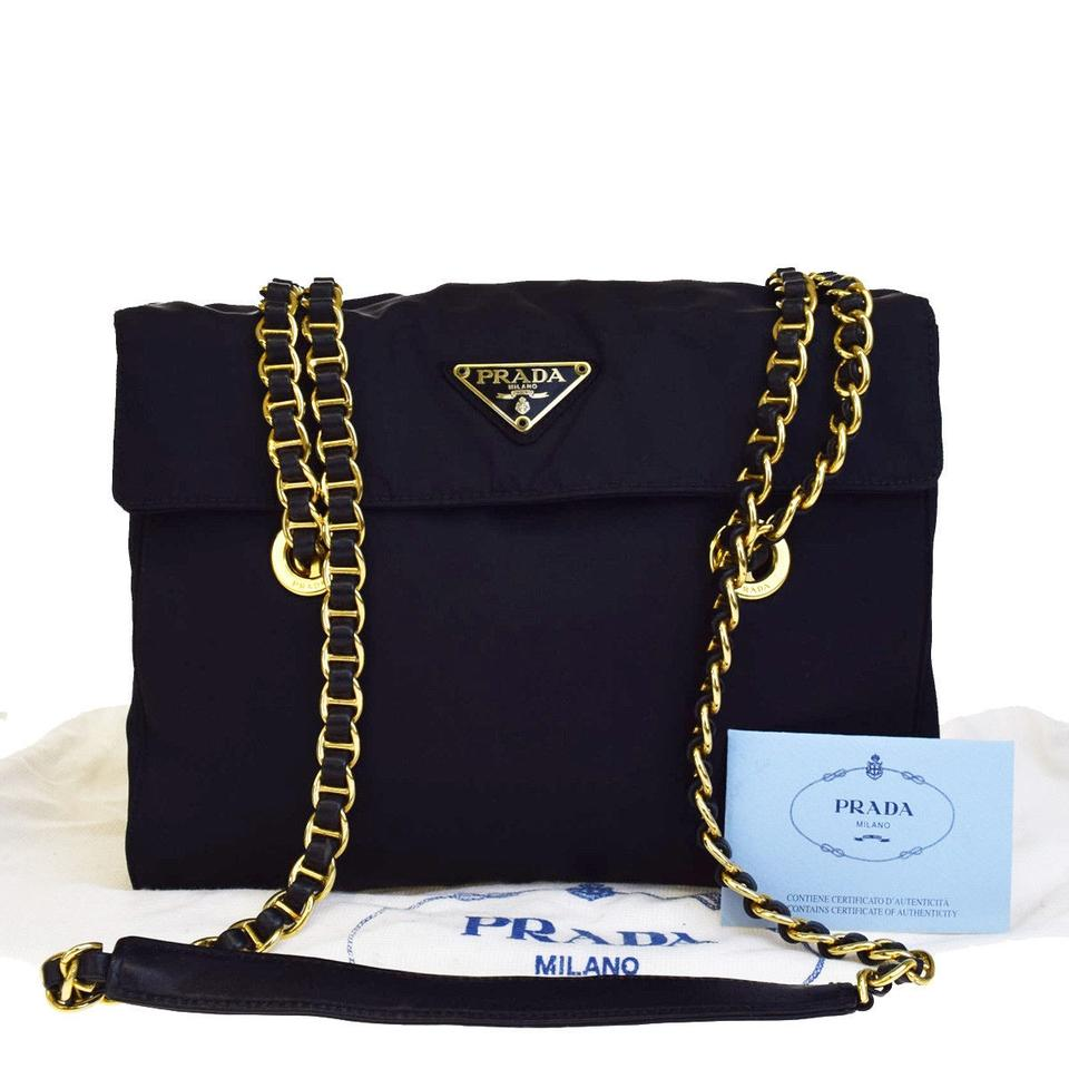 649a0a43e2d203 Prada Milano Logos Chain Nylon Italy Black Leather Shoulder Bag ...