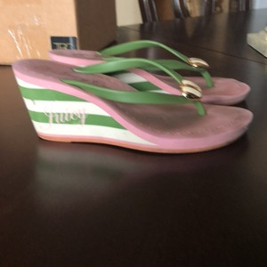 Juicy Couture Pink, white, green Wedges