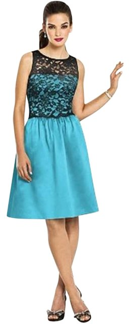 Item - Turquoise 6656 Mid-length Night Out Dress Size 4 (S)