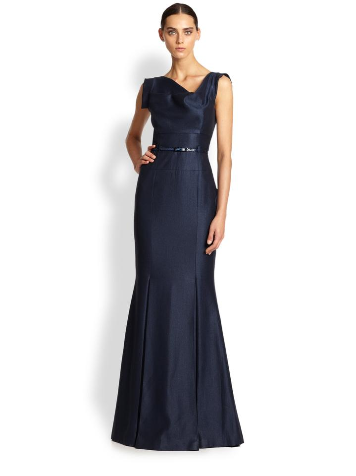 Black Halo Navy Blue Jackie O. Plated Crepe Gown Long Formal Dress ...