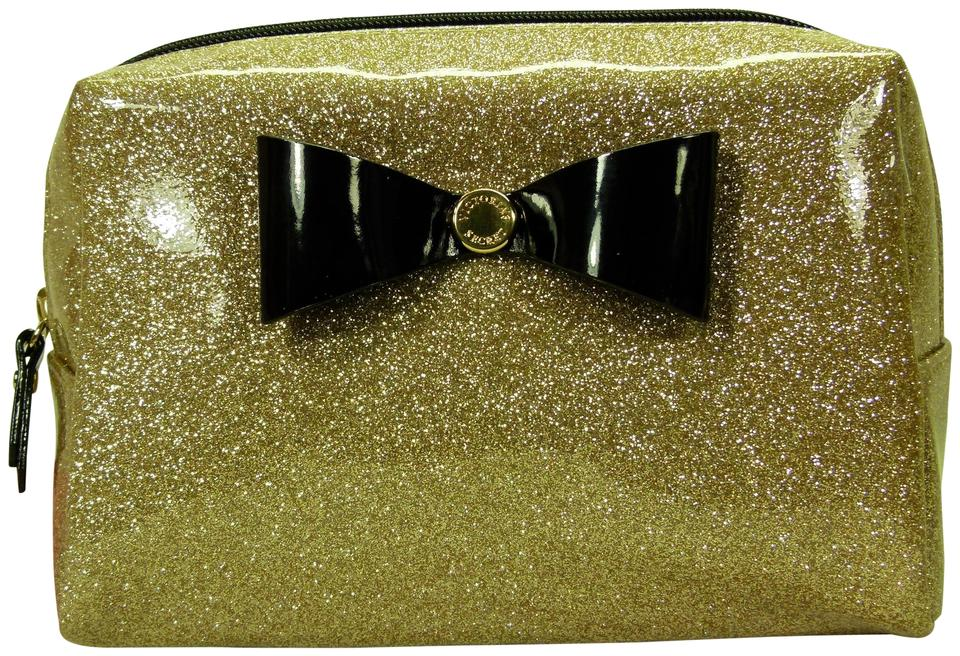 4f057df6c2d65 Victoria's Secret Gold New Makeup Shimmer with Black Bow Cosmetic Bag