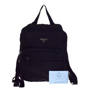 5d3931a18ed29c Added to Shopping Bag. Prada Made In Italy Backpack. Prada Milano Logos  Shoulder Leather In Italy Black Nylon Backpack