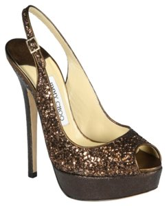 Jimmy Choo Slingback Glitter Pump Bronze Sandals