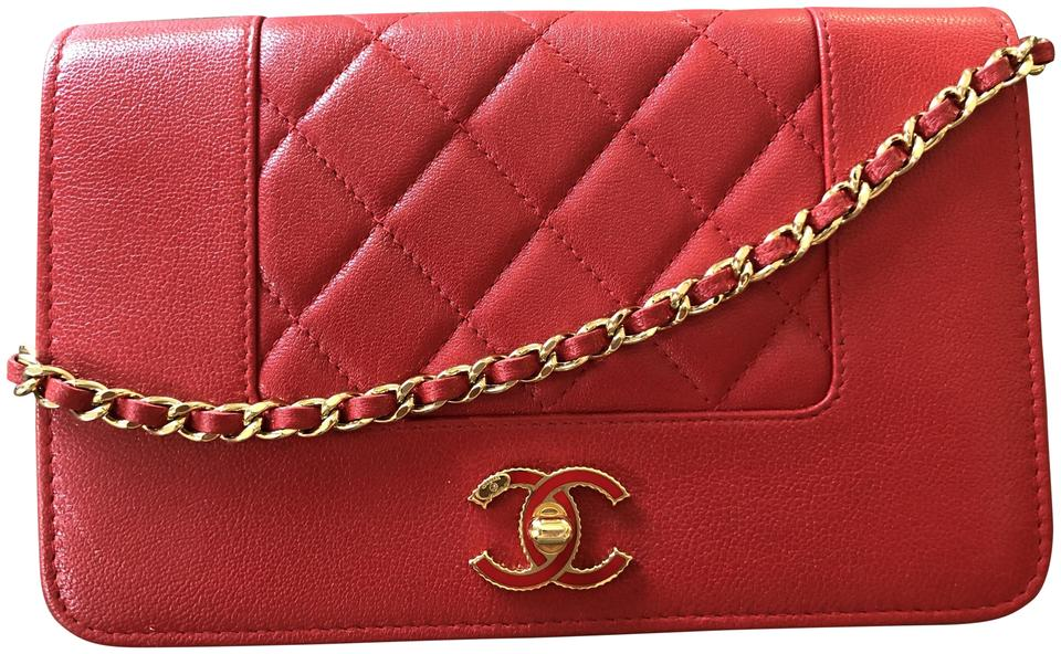 cb547e4a9de8bf Chanel Wallet on Chain Red Leather Cross Body Bag - Tradesy