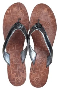 Tory Burch Buch Wedges Pewter Sandals