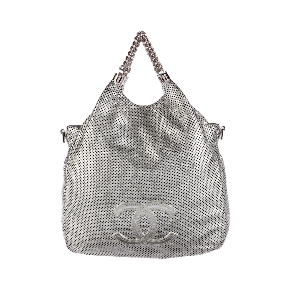 00a986d9a1e5 Chanel Rodeo Drive Bag Silver Lambskin Leather Tote - Tradesy