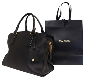 Tom Ford Cc Lv Gucci Lambskin Leather Satchel in Black