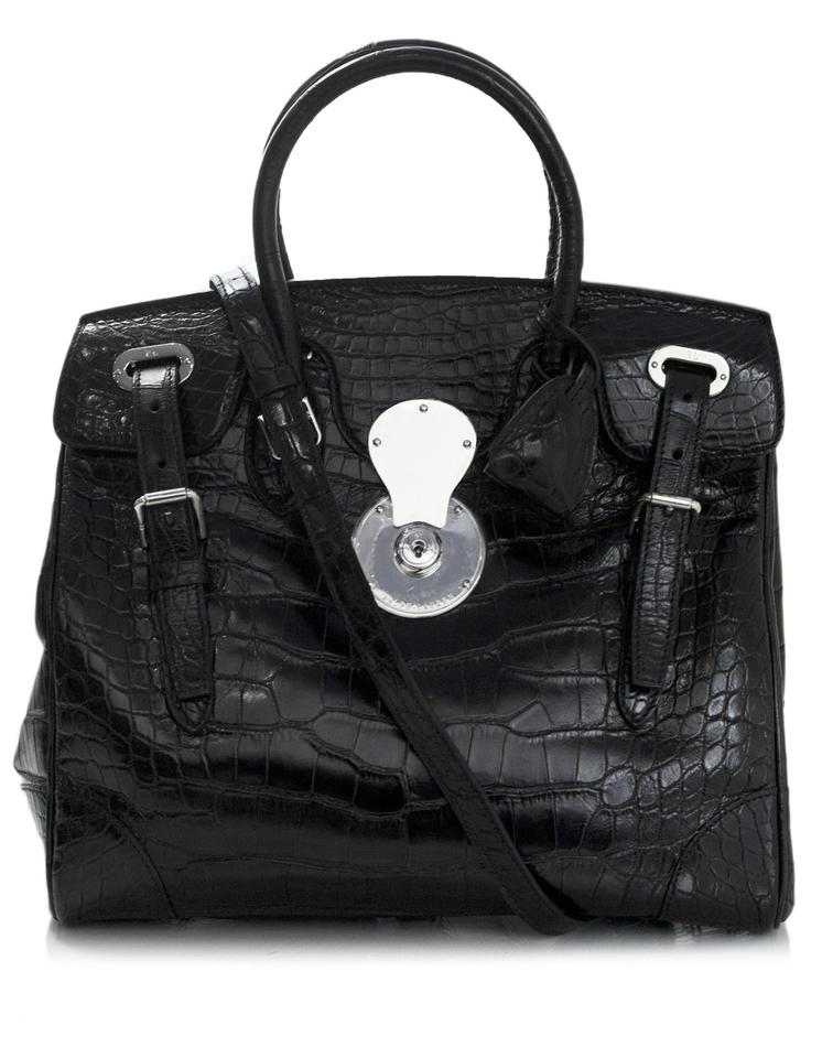e4d21056a0 Ralph Lauren Ricky 33 Satchel Black Crocodile Skin Leather Tote ...