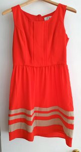 Sweet Storm short dress Red/Orange Striped Fitted on Tradesy