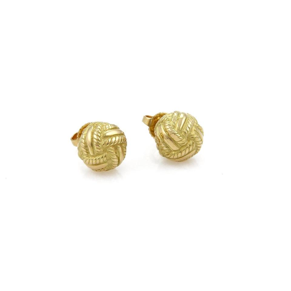 Tiffany Co Textured Woven Love Knot 18k Yellow Gold Stud Earrings