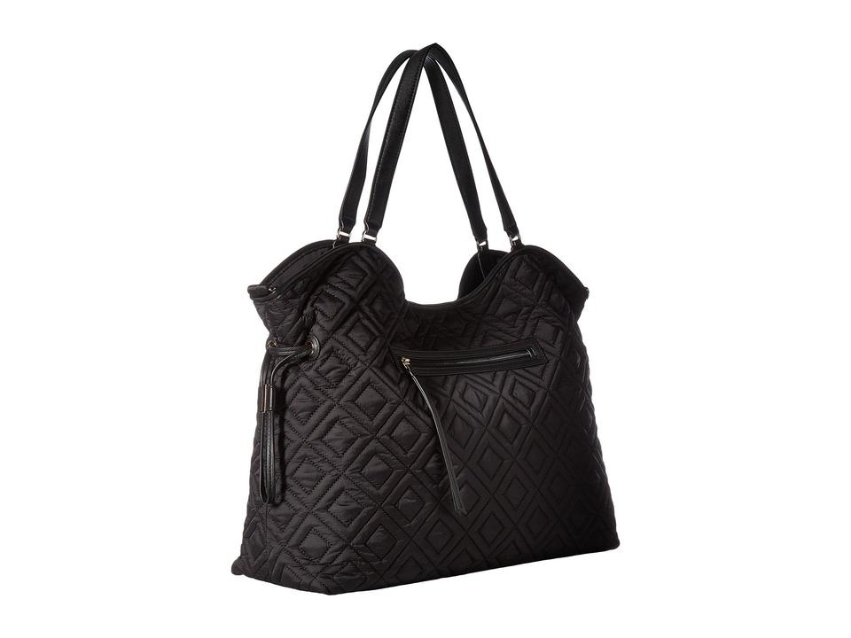 Tory Burch Marion Quilted Slouchy Black Leather Nylon