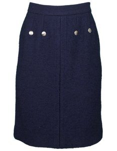 Chanel Boucle Wool Skirt navy