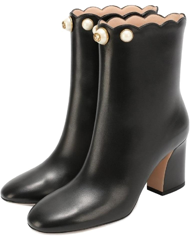 Gucci Black Pearl Embellished Gg Leather Ankle Boots Booties Size EU ... d7569661ac9