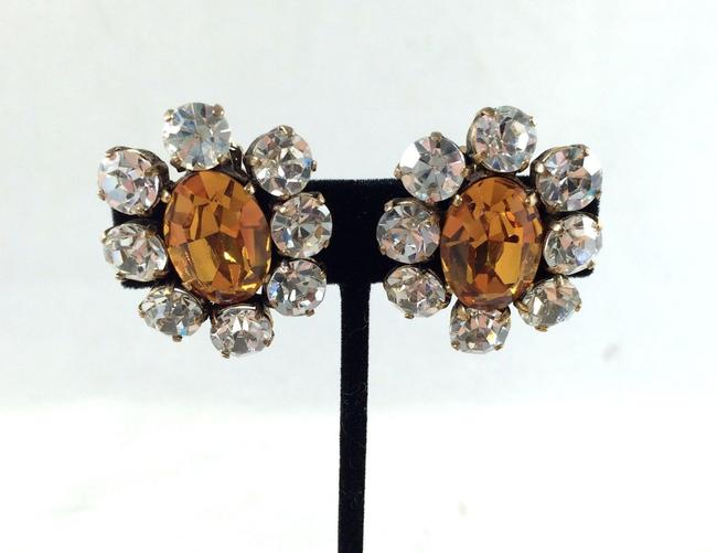 Chanel Citrine 1984 Vintage Clear Crystal Ultra Rare Earrings Chanel Citrine 1984 Vintage Clear Crystal Ultra Rare Earrings Image 1