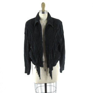 Wilsons Leather Suede Fringe Biker Motorcycle Jacket