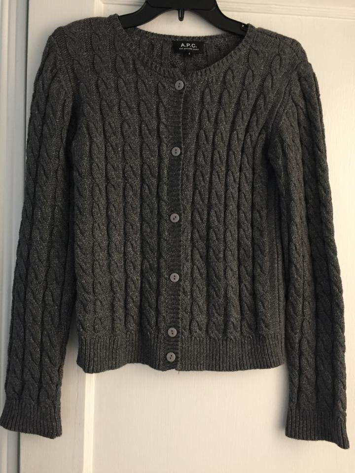 775066938 A.P.C. Grey Cable Knit Cardigan Size 4 (S) - Tradesy